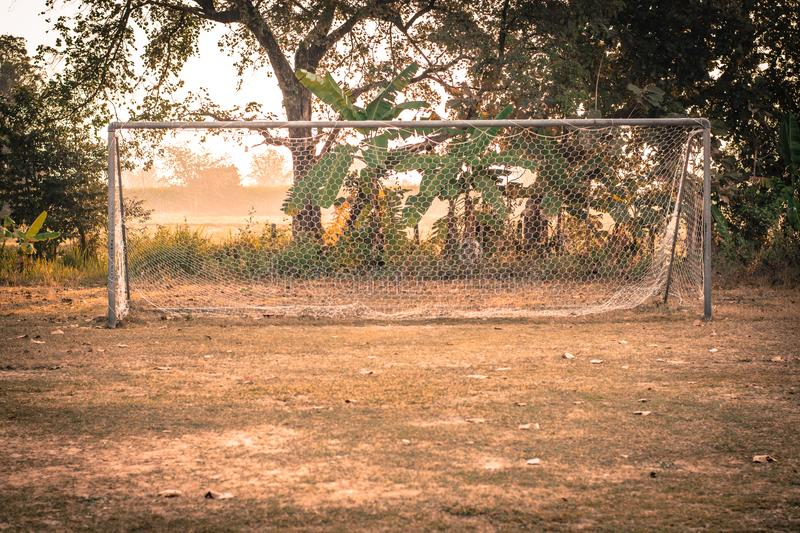 Vintage photo of Soccer Goal or Football Goal royalty free stock images