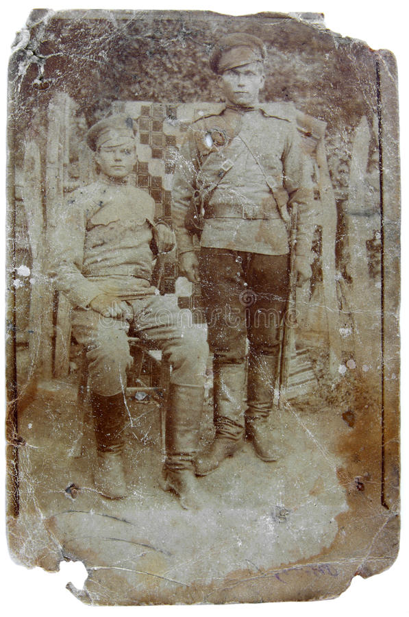 Vintage photo of soldiers royalty free stock images