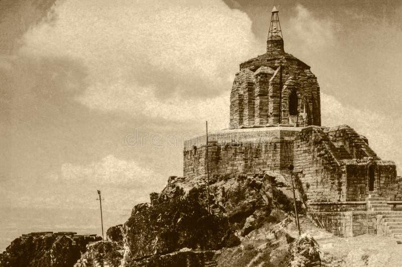 Vintage photo of Temple of Jyeshteswara - Shankaracharya Temple, built c.220 BC-Kashmir J&K royalty free stock photo