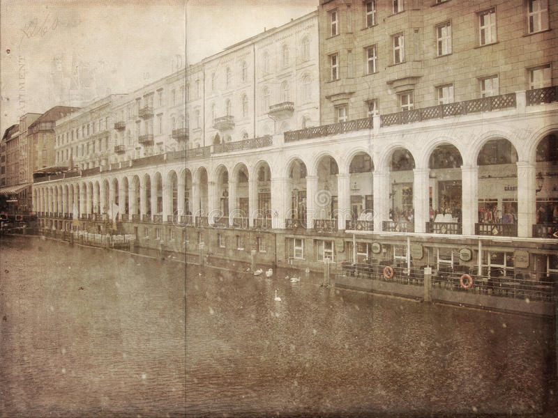 Vintage Photo of a Waterfront Restaurant royalty free stock images