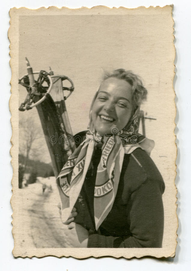 Download Vintage photo of woman stock photo. Image of skier, winter - 24405026