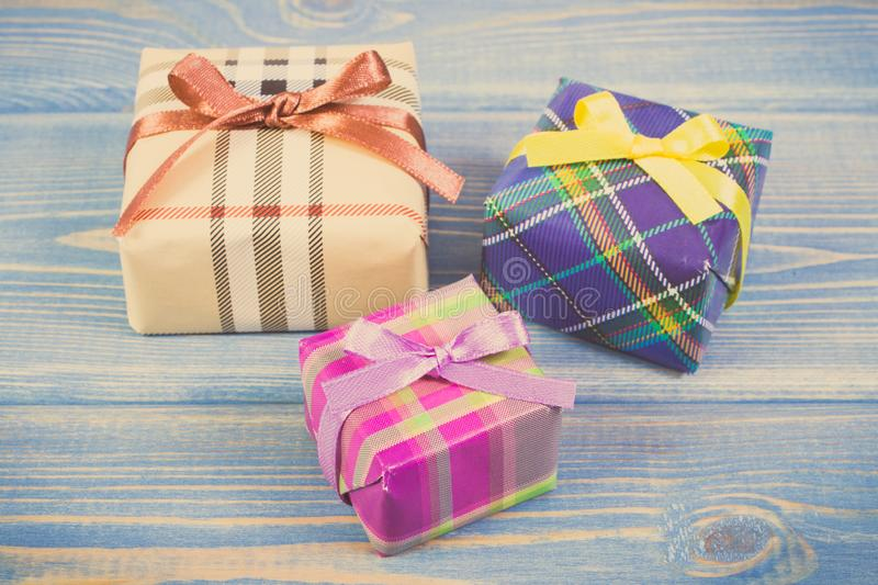Vintage photo, Wrapped gifts with ribbons for Christmas or other celebration stock image