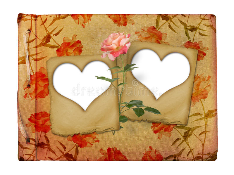 Download Vintage Photoalbum For Photos With Slides And Rose Stock Illustration - Image: 23159957