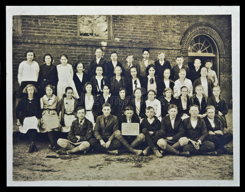 Vintage Photograph School Children stock images