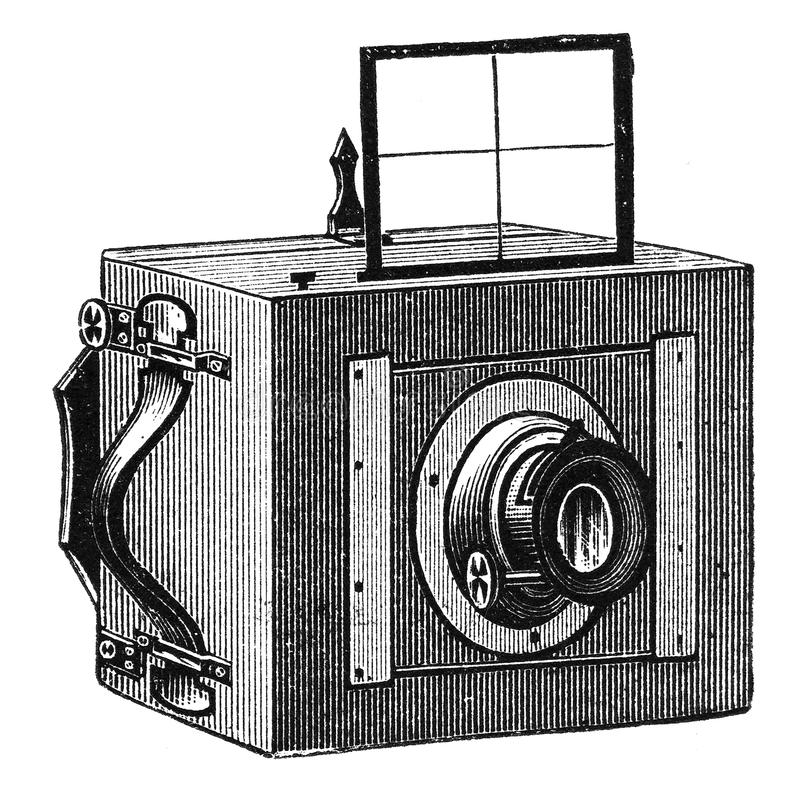 Vintage photographic camera with viewfinder stock illustration