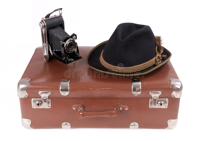 Vintage Photography Camera With Traditional Bavarian Hat Royalty Free Stock Photo