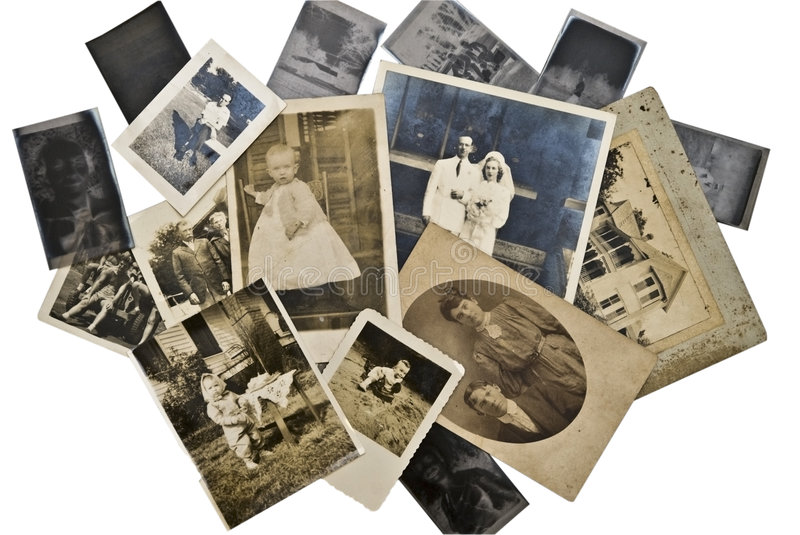 Vintage Photos and Negatives. A collection of family photos from the 1800's to 1940's royalty free stock photography