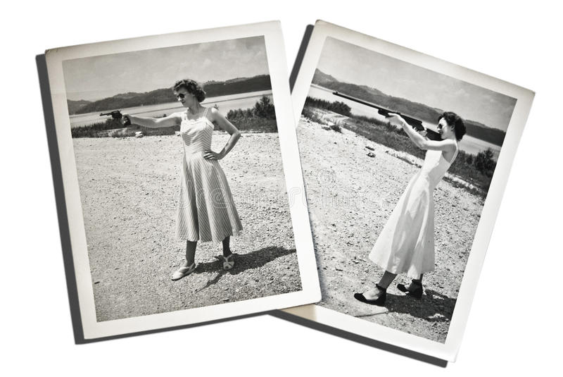Vintage Photos Women with Guns stock images