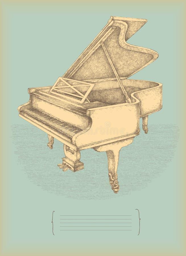 Download Vintage piano stock illustration. Image of vintage, drawing - 14242583
