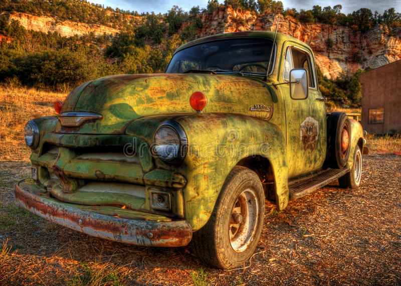 Vintage Pick up truck. A green vintage Pick up truck