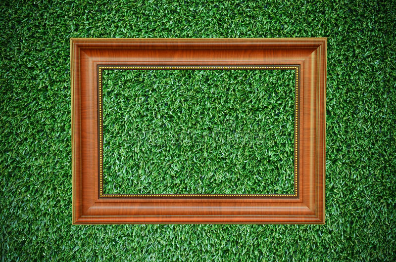 Vintage picture frame on beautiful green grass stock photo