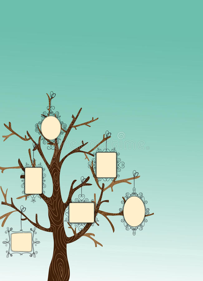 Vintage Picture frames tree royalty free stock image