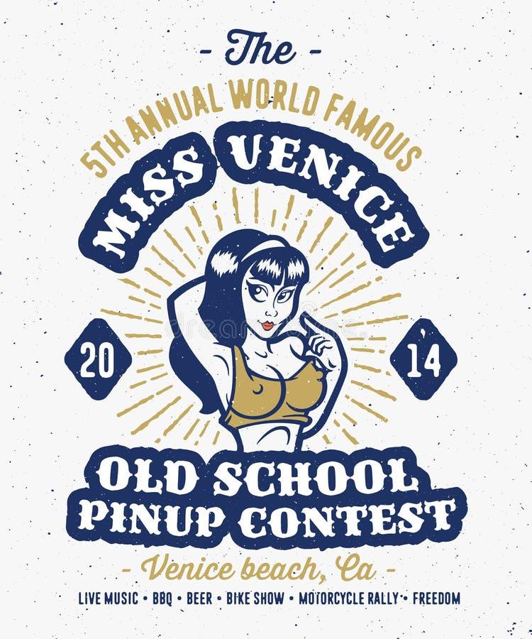 Vintage pin up contest print design vector illustration