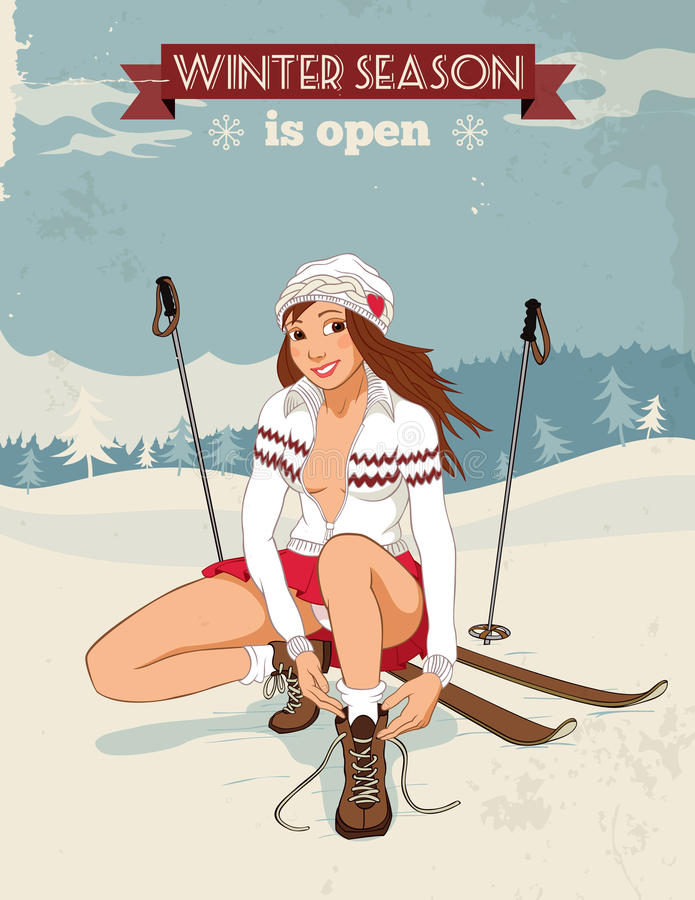 Vintage pin-up girl with skis poster. Skiing poster in retro style with beautiful pin-up girl tying shoelaces in a winter landscape vector illustration