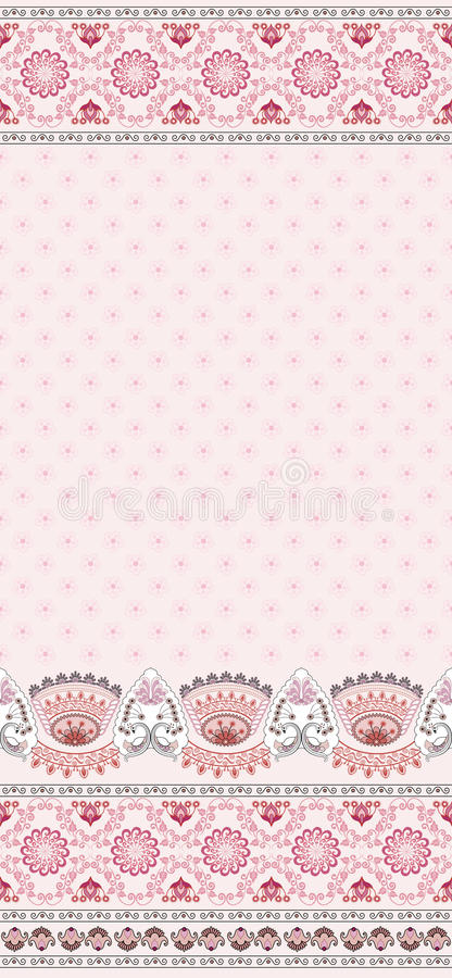 Vintage pink card with flowers and swans