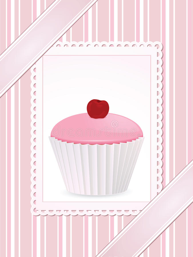 Vintage pink cupcake background stock illustration
