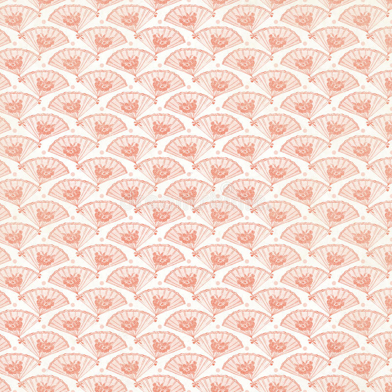Vintage Pink Fan Background repeat wallpaper. Art deco style stock photo