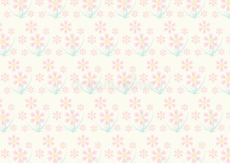Vintage Pink Flower Pattern On Pastel Color Stock Vector