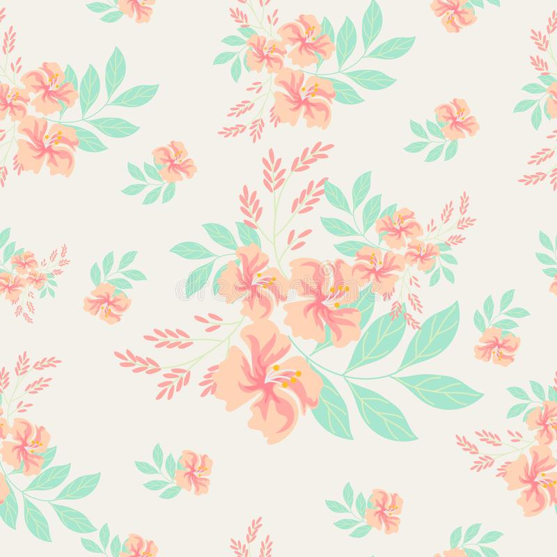 Vintage pink flower seamless pattern. Vintage pink flower background vector illustration