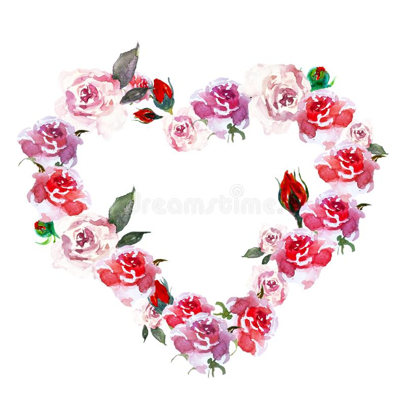 Vintage Pink heart flowers wreath with watercolor roses and rosebuds, isolated on white background. stock illustration