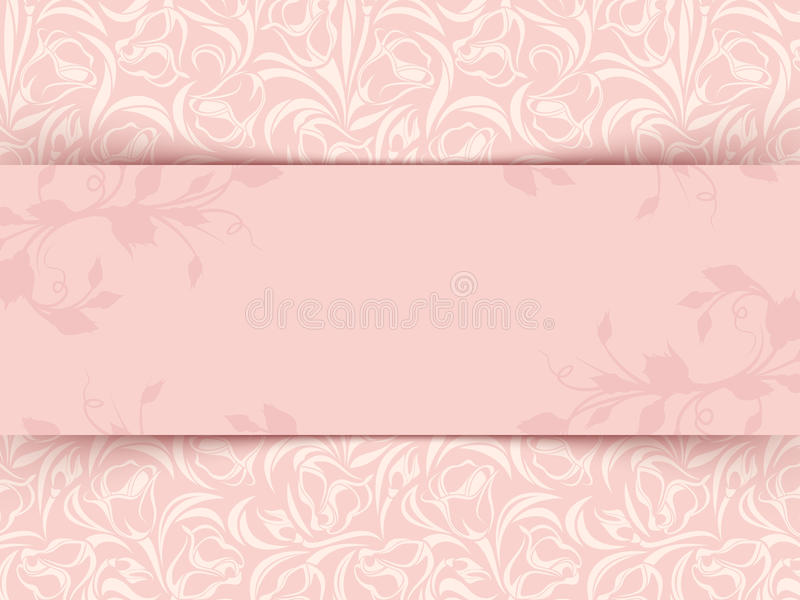 Vintage pink invitation card with floral pattern. Vector eps-10. stock illustration