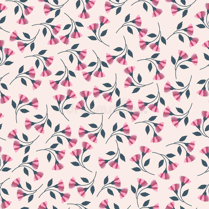 Vintage pink tone flower seamless pattern. Pink flower background vector illustration