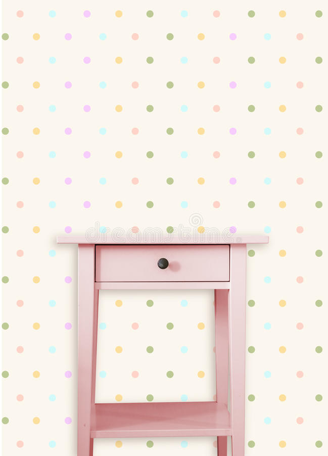 Vintage pink wooden chest drawer near vintage dots wall. Vintage pink wooden chest drawer near vintage dots wall vector illustration