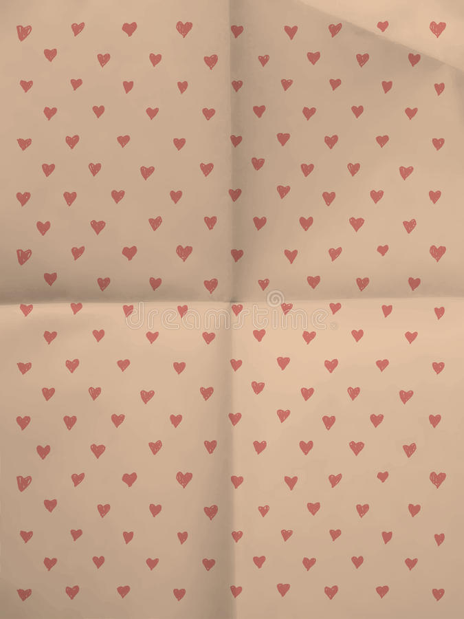 Vintage pink wrapping paper with hearts royalty free stock photography