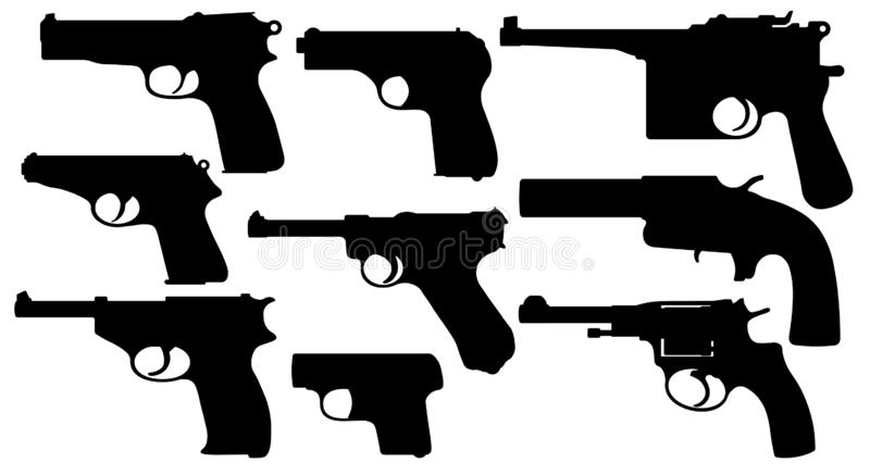 Vintage pistols. Collection of gun. Weapons of the Second World War. Set of Silhouette Vector royalty free illustration