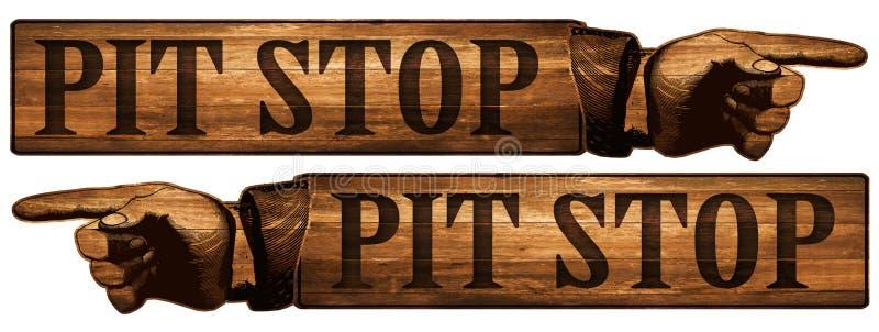 Vintage Pit Stop Sign Pointing Finger vector illustration