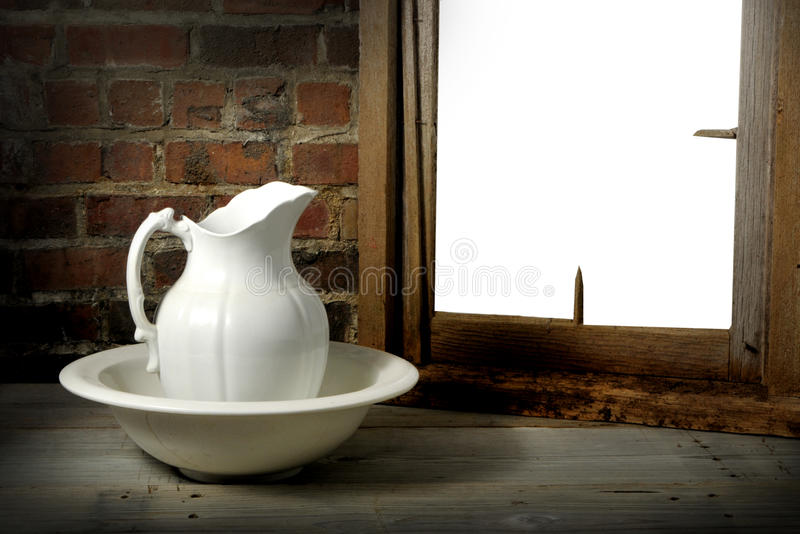 Vintage pitcher and washbasin royalty free stock photography