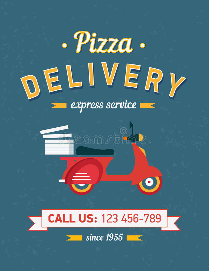 Vintage pizza delivery poster with red moto bike. Vintage pizza delivery poster with old typography and red moto bike vector illustration
