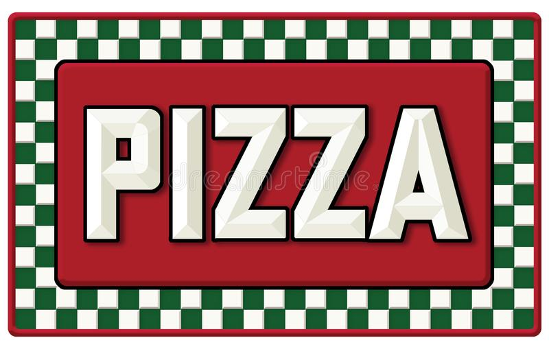 Vintage Pizza tin sign. Vintage Pizza Shop Sign with embossed lettering and red and green checkerboard banner classic retro pizzeria look royalty free illustration