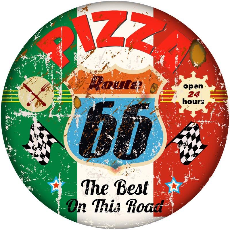 Vintage pizza sign vector illustration