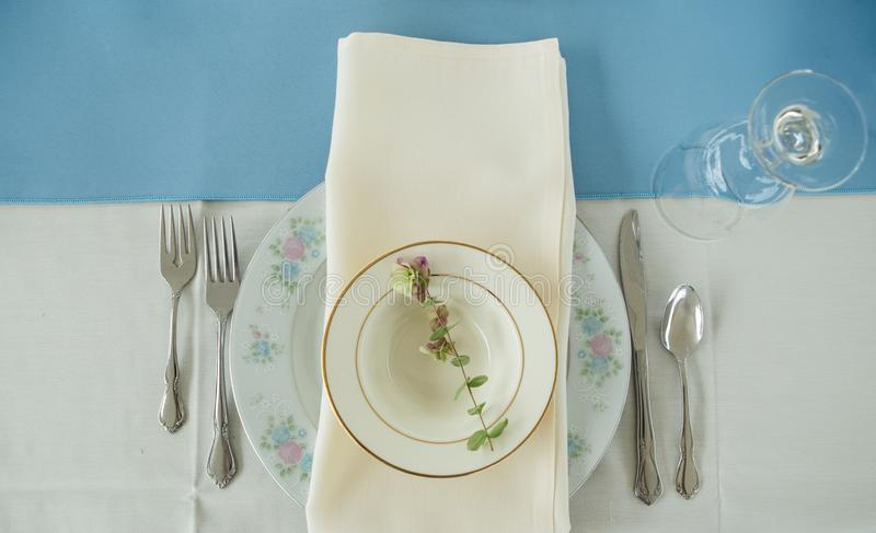 Download Vintage Place Setting On A Table With Silverware And Napkin. Stock Image - Image & Vintage Place Setting On A Table With Silverware And Napkin. Stock ...