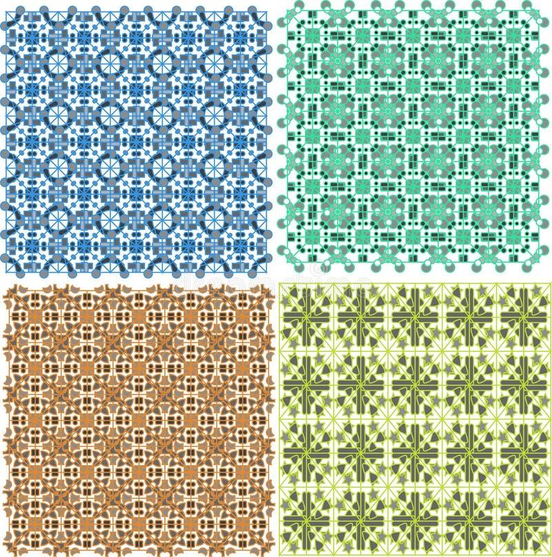 Vintage plaid abstract patterns set vector design stock illustration