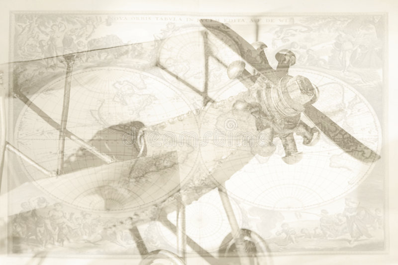 Download Vintage plane and map stock illustration. Image of biplane - 8484747