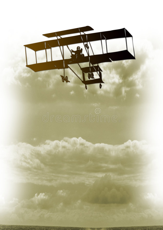 Vintage plane in sky vector illustration