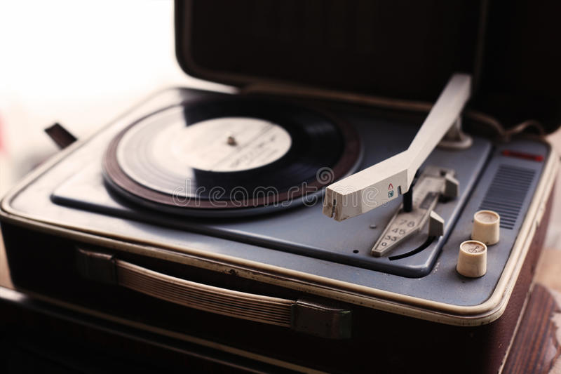 Vintage player of vinyl records royalty free stock images