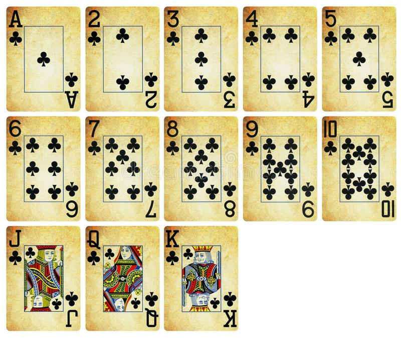 Vintage Playing cards of Diamond suit - isolated on white stock photography