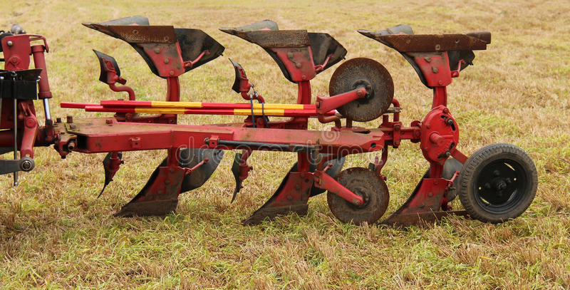 Vintage Plough. A Vintage Tractor Pulled Agricultural Farming Plough stock photography