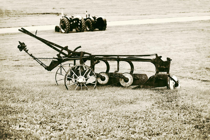 Download Vintage Plow In A Farm Field Stock Photo - Image of rust, used: 52385620