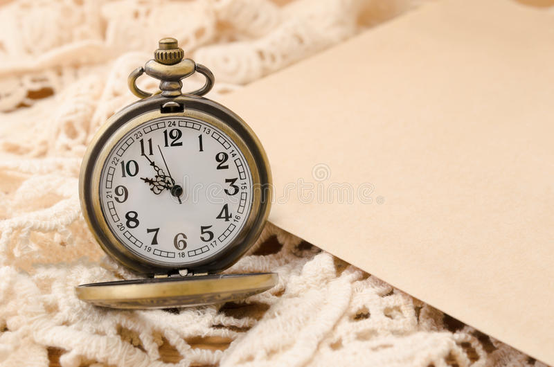 Vintage pocket watch with blank paper on lace background royalty free stock photos
