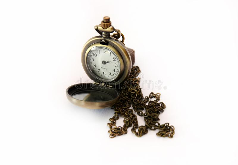 Vintage pocket watch without hour hands stock photos