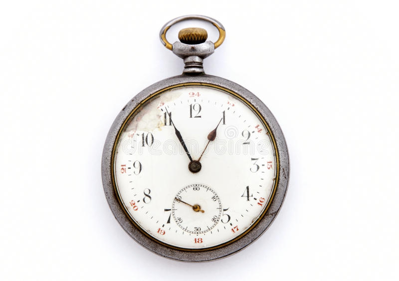 Vintage pocket watch isolated. On white background royalty free stock photography