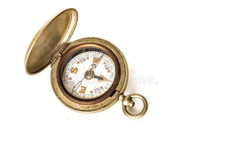 Vintage pocket watch style compass, isolated on white. Antique pocket watch style compass, isolated on white royalty free stock photos