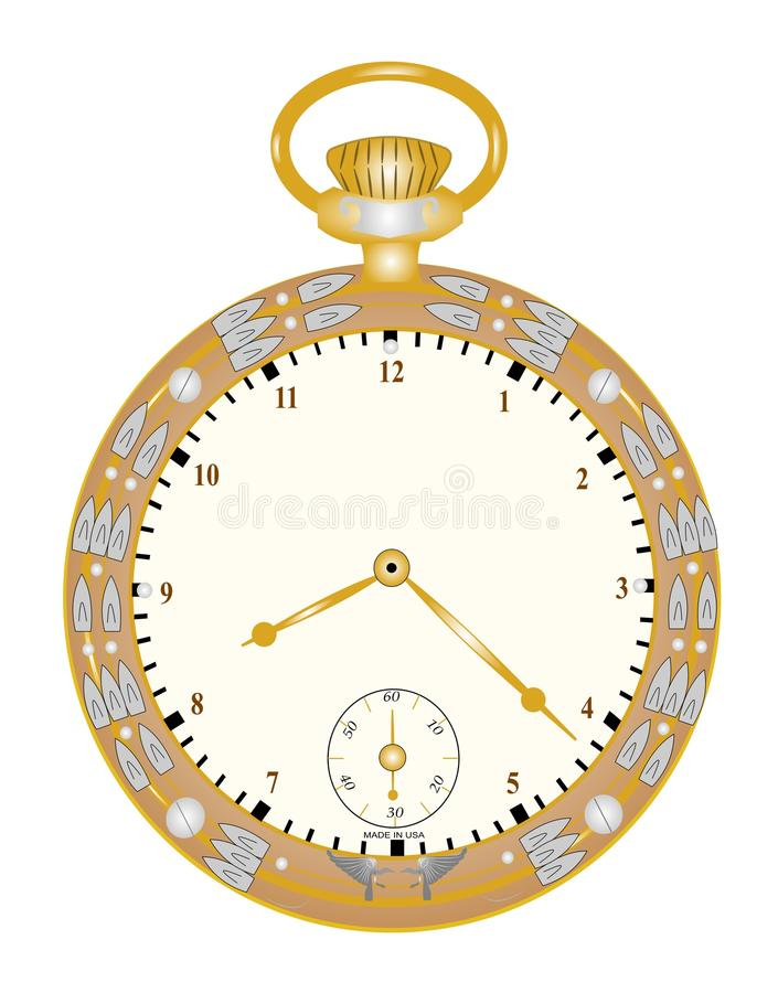 Vintage pocket watch. From thirties and forties era royalty free illustration