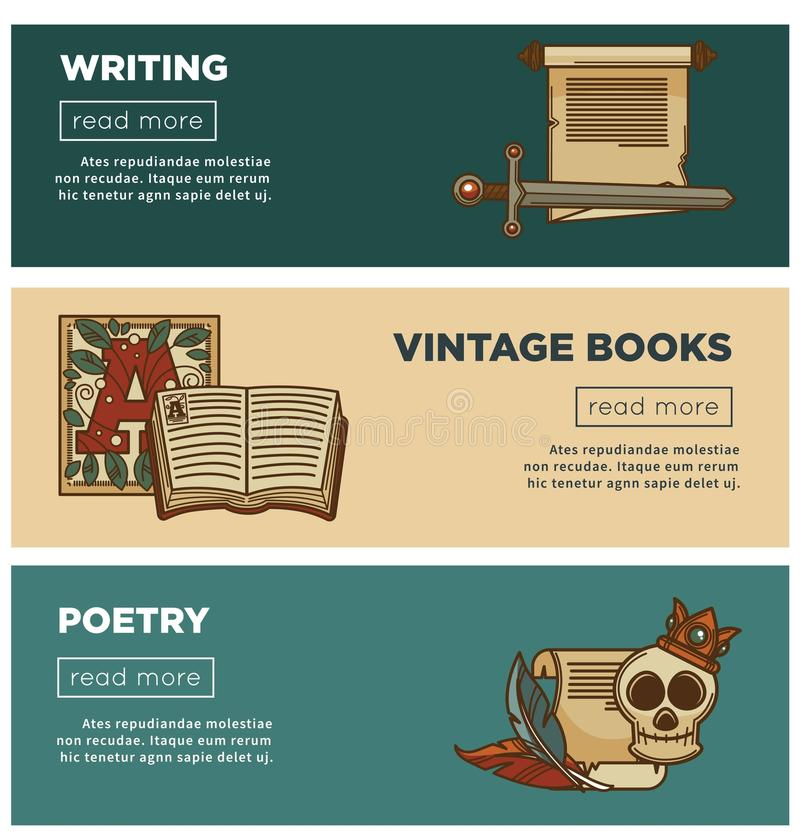 Vintage poetry books banners for bookshop or bookstore library of writing stationery. Vintage books and poetry web banners for bookshop or bookstore and stock illustration