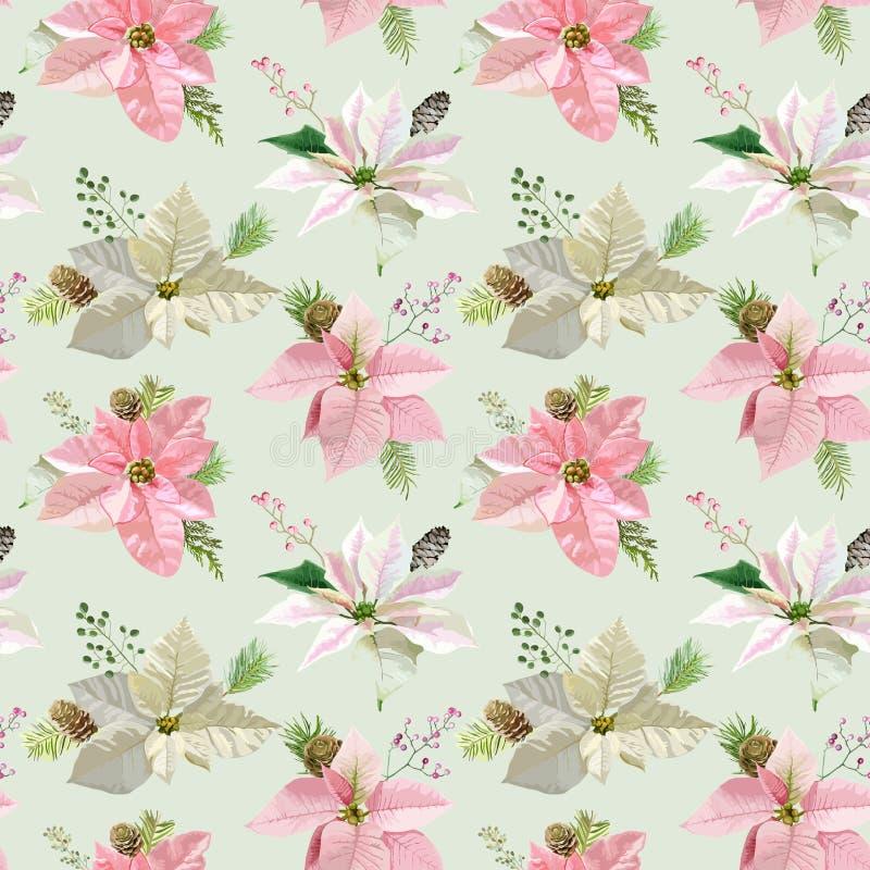 Vintage Poinsettia Background vector illustration