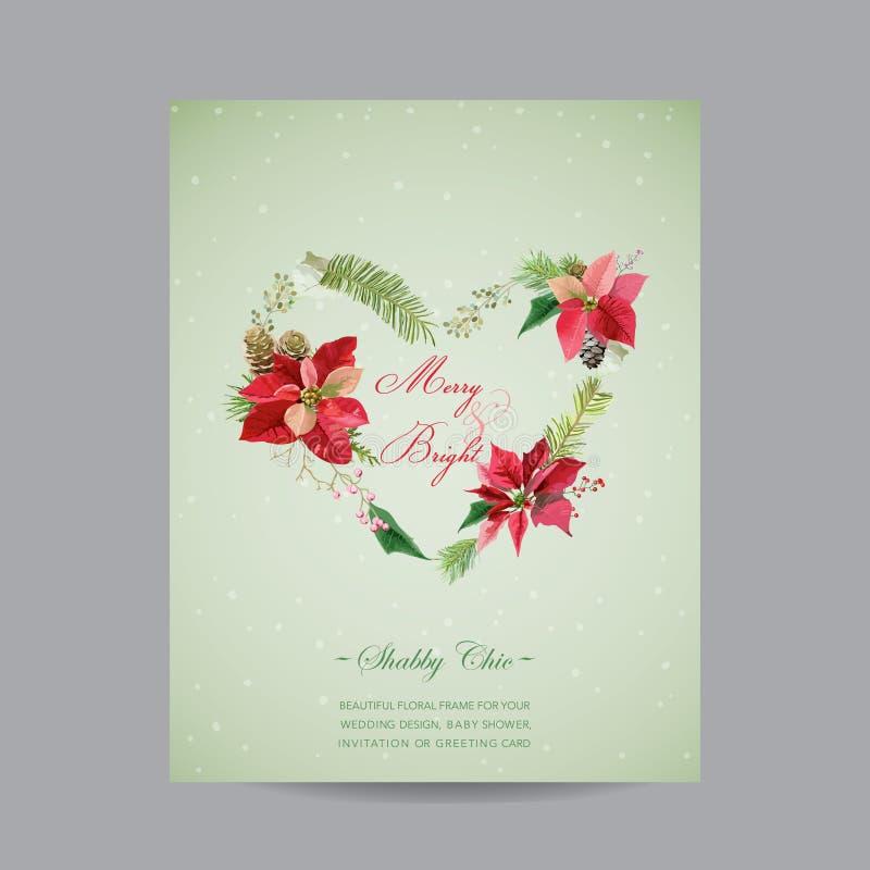 Vintage Poinsettia Christmas Card - Winter Background vector illustration